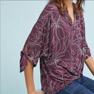 Anthropologie Akemi+Kin Floral Wrap top in purple